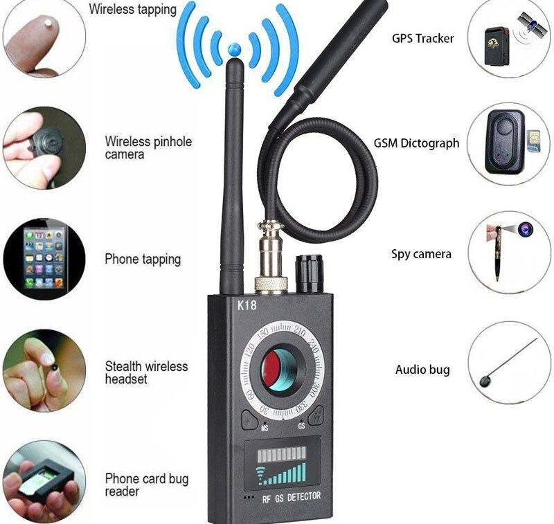 1 mhz-6.5 ghz K18 Multi-fonction Anti-espion Détecteur Caméra GSM Audio Bug Finder GPS Signal lentille RF Tracker Détecter Sans Fil Produits
