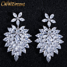 CWWZircons 2018 Luxury Wedding Bridal Accessories White Flower AAA+ Cubic Zirconia Long Big Drop Earrings for Brides CZ051(China)