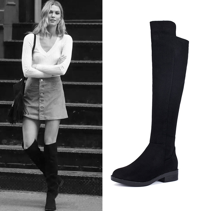 Boussac Stretch Suede Over the Knee Boots Women Sexy Long Boots 5050 Women Winter Shoes Flat