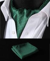 RD103G Green White Polka Dot Silk Cravat Woven Ascot Tie Pocket Square Handkerchief Suit Set