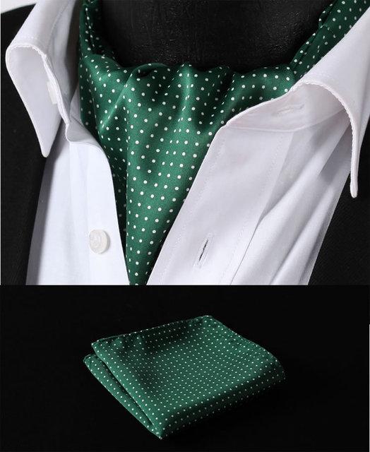 Rd103g verde Polka Dot branco de seda gravata tecido lenço gravata Suit Set bolso praça Handkerchief