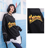 Fake Two Piece Sweatshirt With Zipper Fashion Fire Print Pullover Women's Casual Loose Street Hipster Hoodie Hip Hop Streetwear