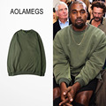 Aolamegs Men Women Sweatshirt Kanye West Style Solid Color Pullovers 2016 Autumn New Plus Velvet Fashion Casual High Streetwear