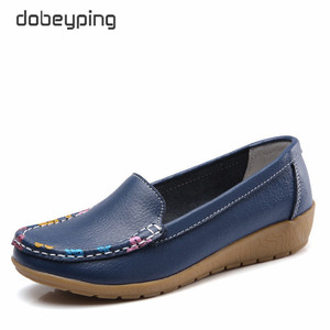 Image 1 - dobeyping Slip On Womens Loafers Spring Autumn Shoes Woman Genuine Leather Flats Women New Female Moccasins Shoe Big Size 35 41