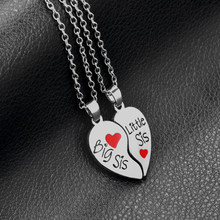 2 PC/Set Big Sis Lil Sis Big Sister Little Sister Alloy Pendant Necklaces Red Heart Stitching Good Sisters Necklace For Women(China)
