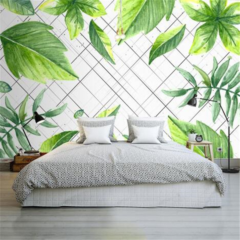 Nordic style 3D Wall Paper for Walls Green Leaf Mural Bedroom Living Room Decorative Wallpapers Black Line Non-Woven Wallpapers shinehome maple leaf floral golden wallpaper for 3d rooms walls wallpapers for 3 d living room wall paper murals mural roll