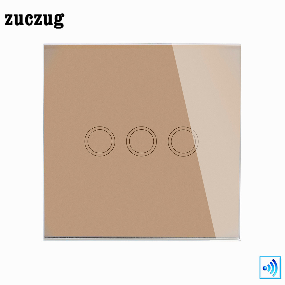 Zuczug EU/UK Remote Control Switch, Gold Crystal Glass Panel Wireless Remote 3 Gangs 1 Way Luxury Smart Home Light Touch Switch 2017 us touch switch screen wireless remote control light switch 1gang switches smart control with crystal glass gold panel
