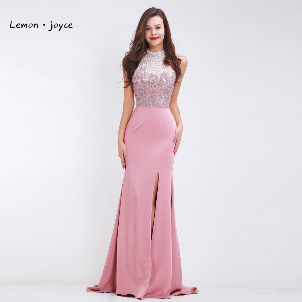 Luxury Pink Evening Dresses Long for Women Girls Sleeveless Backless ...
