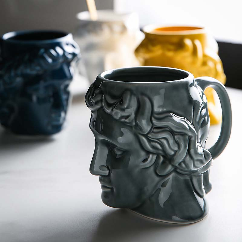 Creative 3D Style Sculpture Ceramic Mug Coffee Tea Milk Drinking Cups with Handle Coffee Mug for Office Novelty Gifts