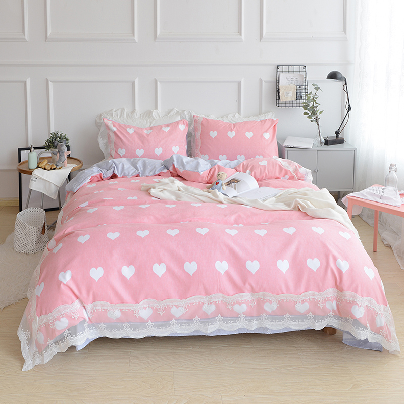 New Sweet Lace Pink Bedding Set Patchwork Ruffle Duvet Cover Wrinkle Bed  Sheet Bedroom Decoration Bedding Princess Bedding Sets  Princess Bedroom Set