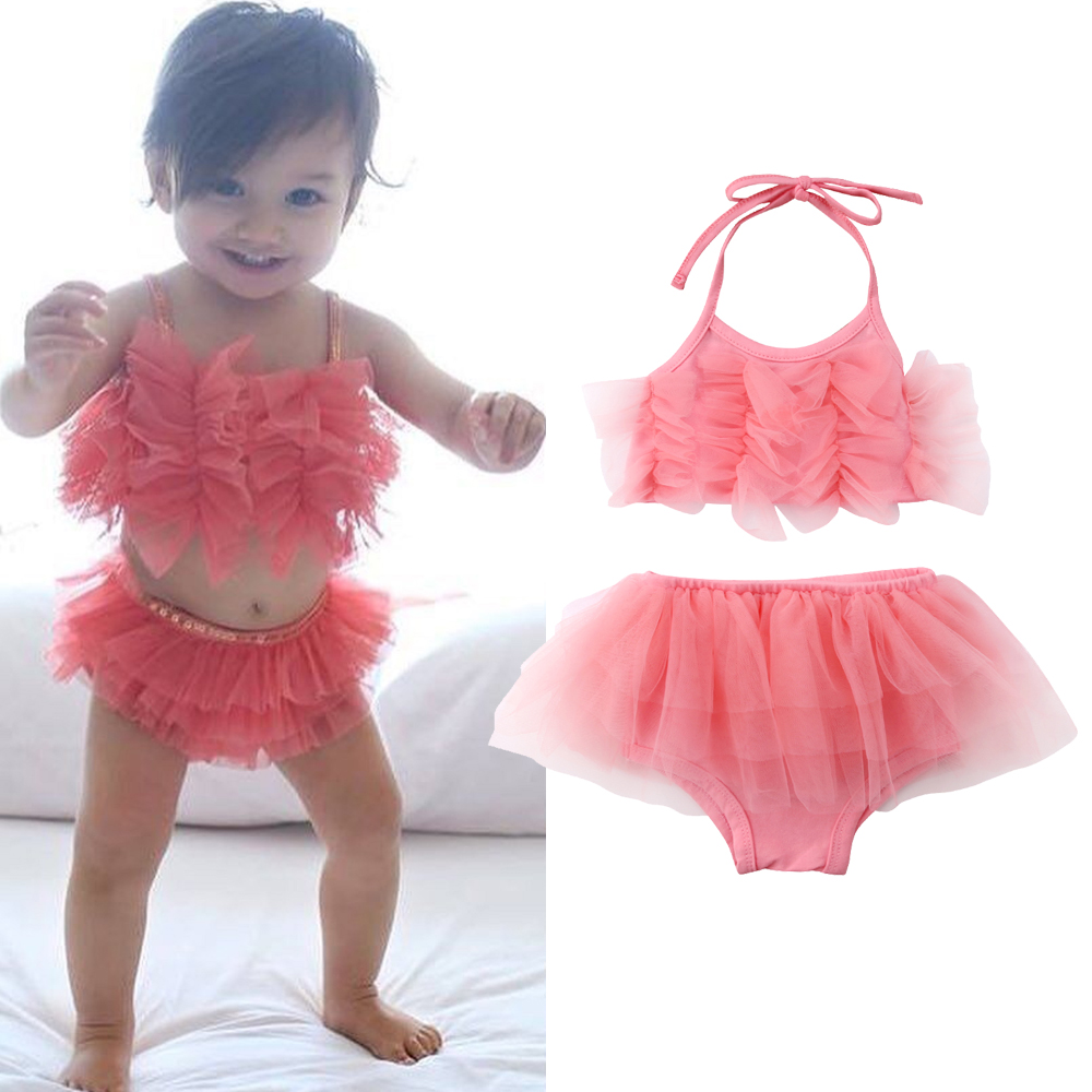 Newborn Toddled Kids Baby Girl Tulle Outfits Sleeveless Tops+Ruffle PP Shorts Summer Baby Girls 2Pcs Clothes