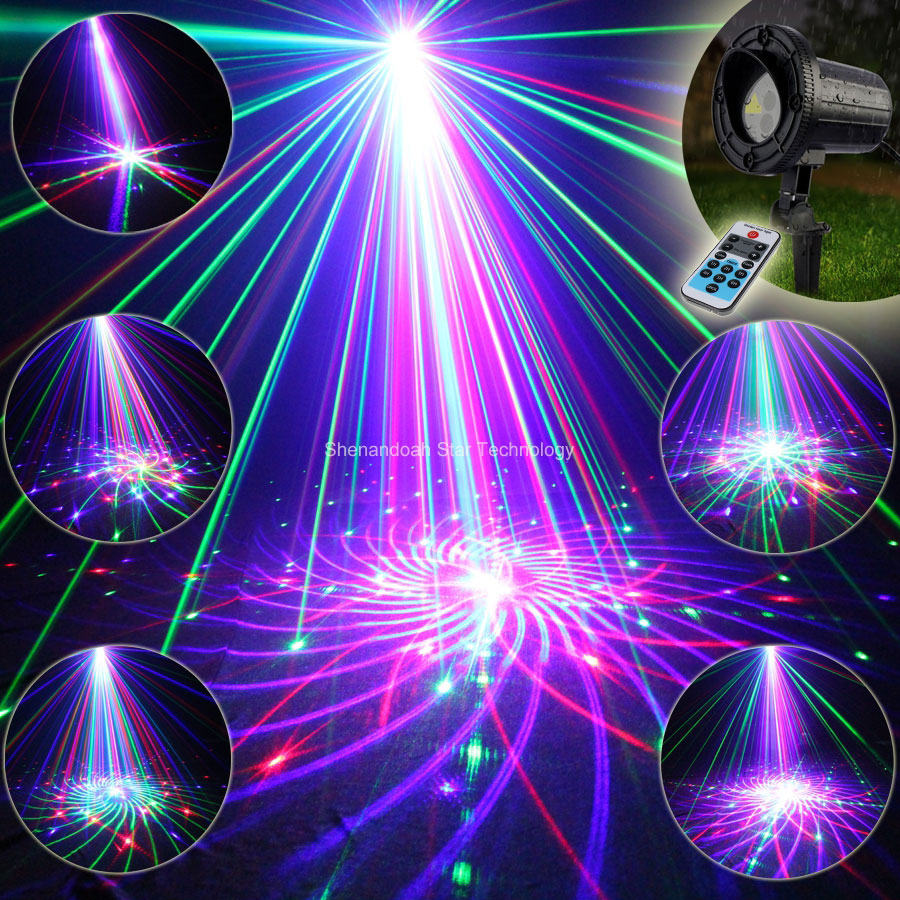ESHINY Outdoor Waterproof RGB Laser 72 Big Patterns Projector Holiday House Party Xmas Tree DJ Wall Garden Landscape Light T101 12v 50w colored rgb outdoor lights 110v wall projector flood light garden waterproof landscape lamp remote control by dhl 6pcs