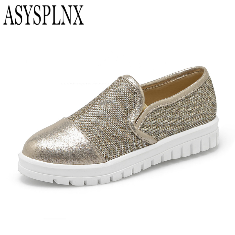 ASYSPLNX plata negro dedo del pie redondo slip hasta mujeres de la plataforma za