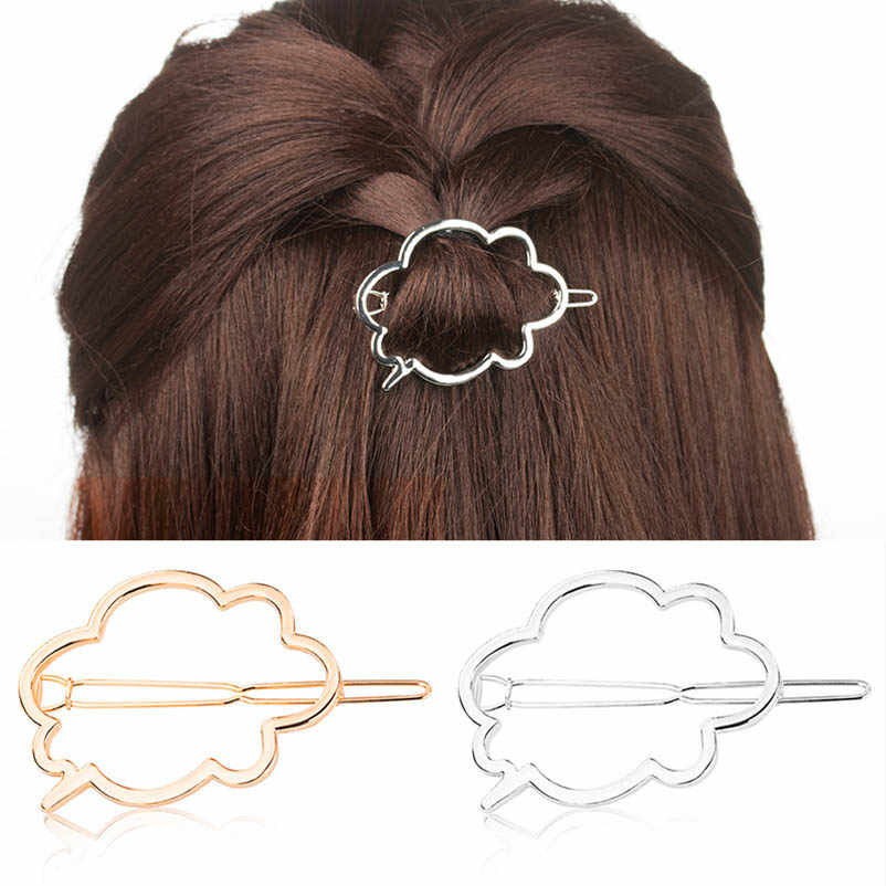 Logam Kartun Cloud Hiasan Kepala Golden Silver Sisi Pin Rambut Klip & Pin Ekor Kuda Rambut Aksesoris Gesper untuk Wanita