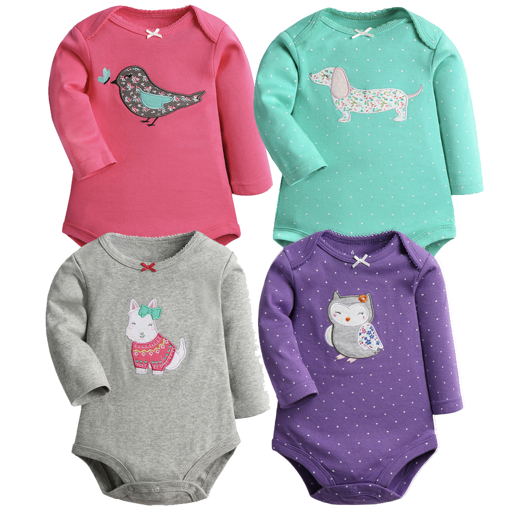 2 Pieces/Lot  Cartoon Style Baby Girls Bodysuits Long Sleeves Cotton Spring Clothes New Born Baby Ropa For 6-24M Little Kids