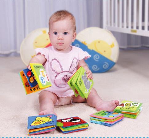 6 pcs /set different function book Soft baby Cloth Book Early  Education Cute Cognize Book For Kids Infant Toys Rattles