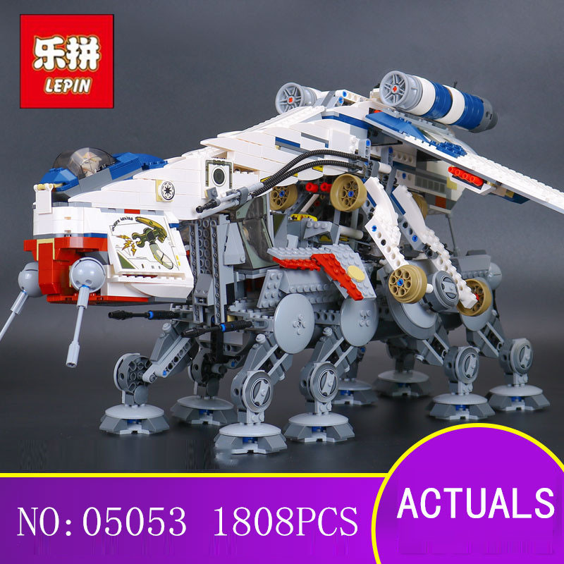 LEPIN 05053 1788Pcs Star Wars Republic Dropship with AT-OT Walker Model Building blocks Bricks Compatible 10195 Toy Gift lepin 05053 1788pcs star series wars republic dropship with at ot walker building blocks bricks set compatible 10195 toys