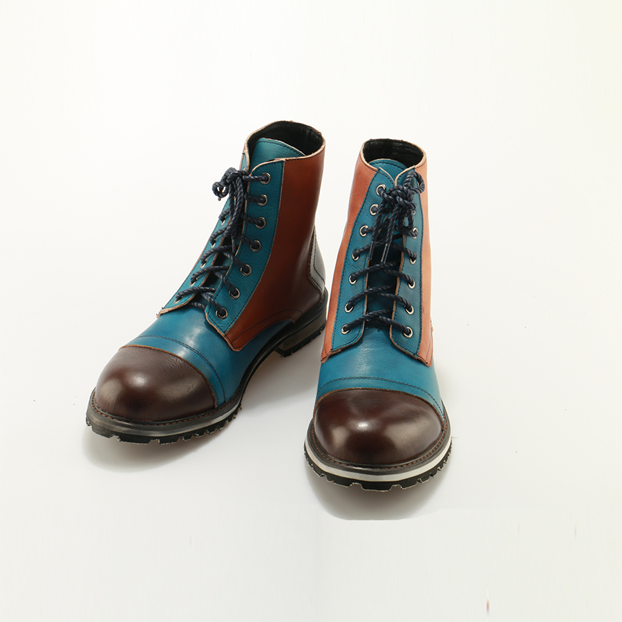 OKHOTCN Casual Men Boots Mixed Colors British Martin Boots handmade bespoke leather Lace up Men 39 s Cow Ankle Boots Vintage shoese in Motorcycle boots from Shoes