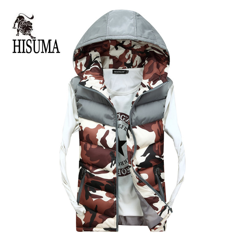 2016 new winter male Camouflage Filled with cotton vest Jackets men's casual cotton hooded vest men jacket waistcoat couple