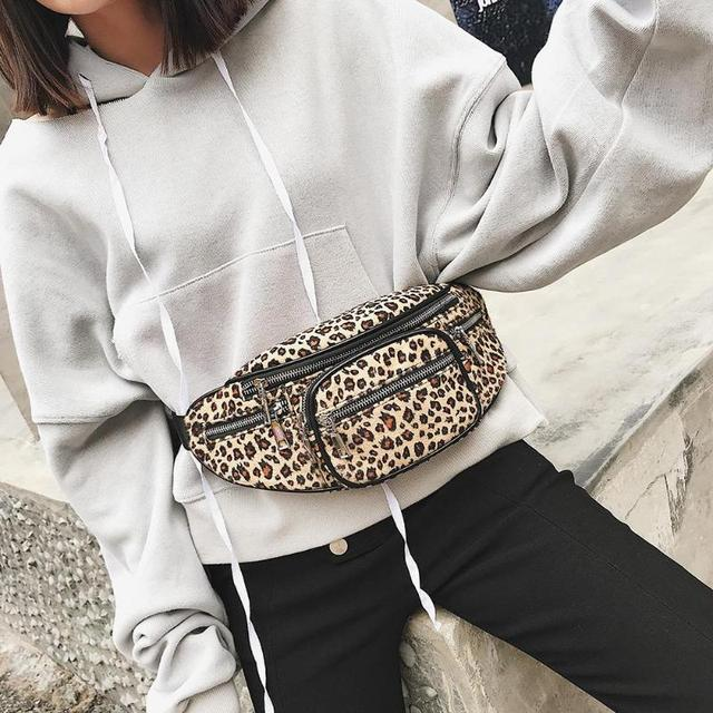 2019 fashion Women Men Waist Bag Leopard Bag Money Waist Pouch Travel Canvas Belt Holiday Wallet Chest Bag Unisex 2019 New