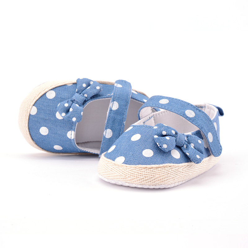 Cute Toddler Baby Girls Soft Bottom Shoes Polka Dots Bow-knot Prewalker For Kids Baby Shoes