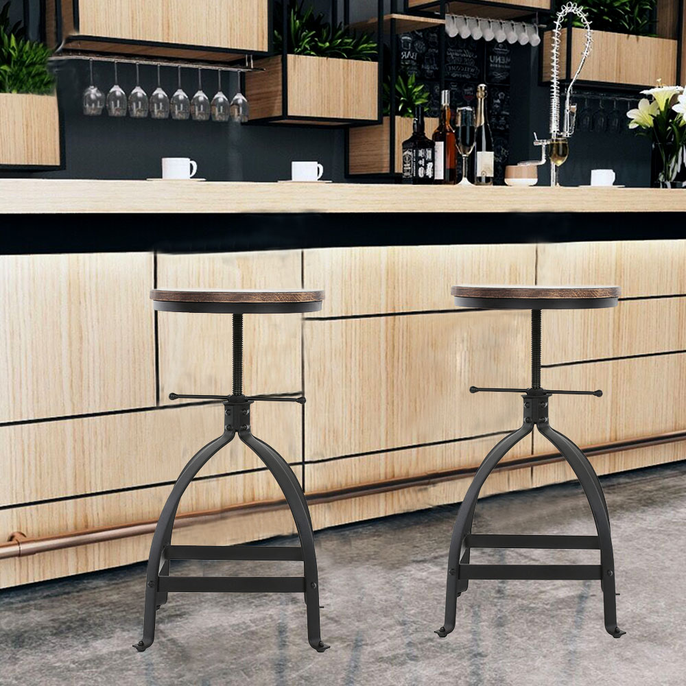 Ikayaa Sturdy Stable Adjustable Height Swivel Kitchen Dining Breakfast Chair Natural Pinewood Top Bar Stool With footrest
