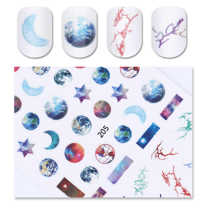 1 Pc Starry Sky 3D Nail Sticker Star Moon Earth Adhesive Nail Art Transfer  Decal 1274641ff34d