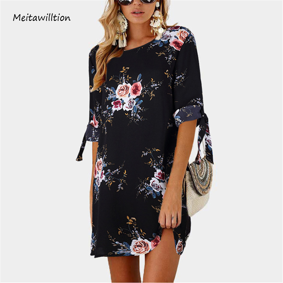 Meitawilltion 5XL Plus Size Chiffon Dresses 2018 Casual Bow Half Sleeve Floral Print Beach Dress Sexy Mini Party Dress Vestidos