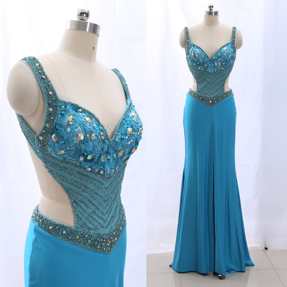 MACloth Sky Blue 0 V Neck Floor-Length Long Crystal Jersey   Prom     Dresses     Dress   M 265246 Clearance