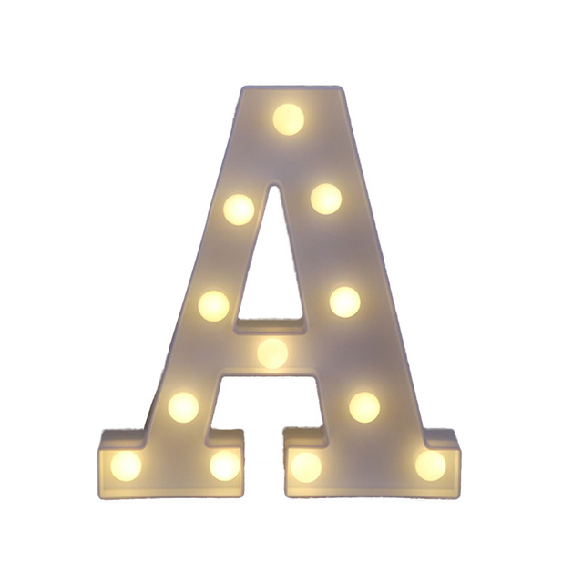 Fun White Plastic Letter LED Night Light Marquee Sign Alphabet Lights Lamp Home Club Outdoor Indoor Wall Decoration