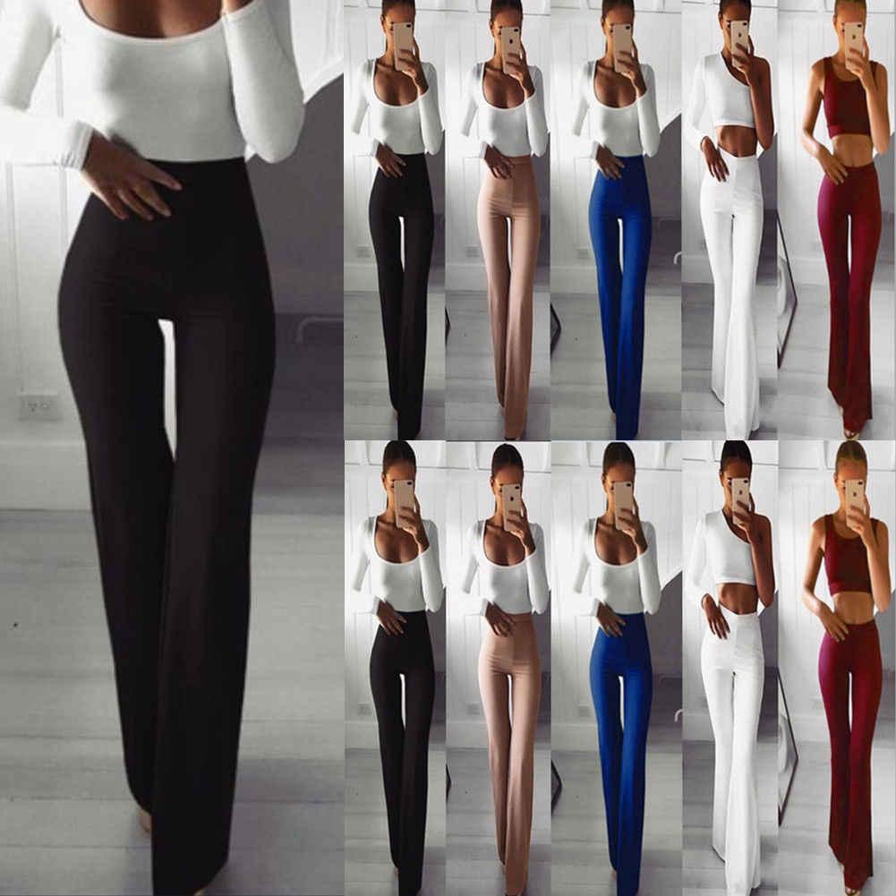 2019 Hot Koop Fashion Vrouwen Wijde Pijpen Stretch Straight Uitlopende Dames Broek Bell-Bottom Broek Mode Kleding