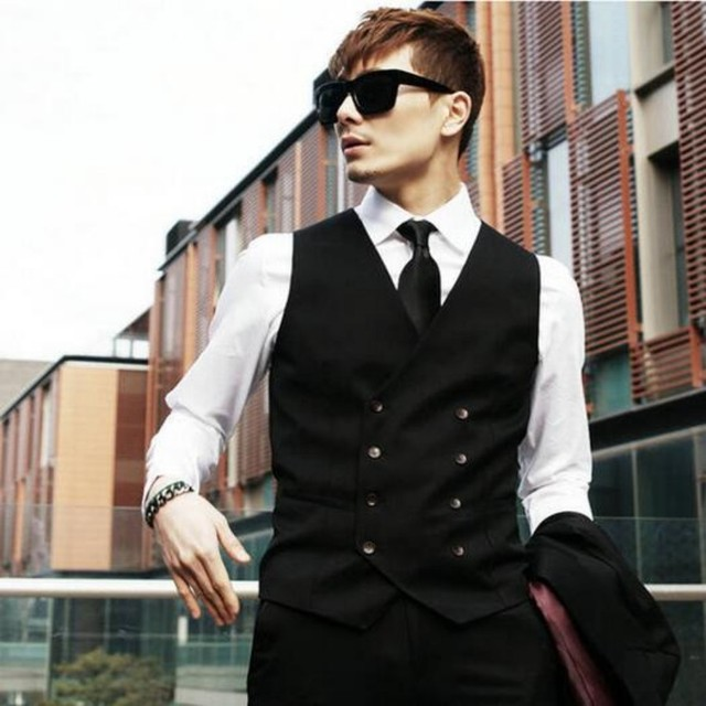 2016 New Fashion Mens Sleeveless Bridegroom Suit Tuxedo Dress Waistcoat Wedding Vest Formal Coats Black Gray Free Shipping