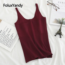 3 Colors Knitted Tops Women Sleeveless Summer Camis Solid Casual Plus Size Tank KKFY3780