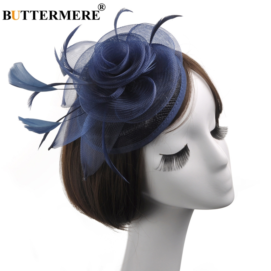 BUTTERMERE Linen Fedoras Hat Women Navy Blue Wedding Hats Ladies Elegant Fascinators Flower Feather Party Designer Cap