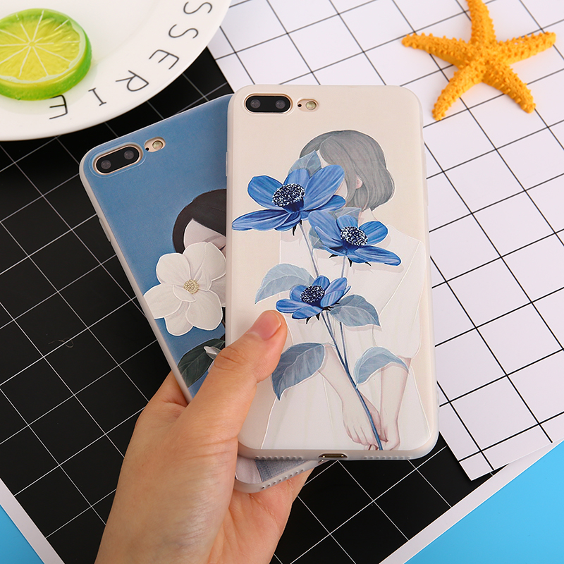 KMUYSL Case for iphone 6 6S 6/7/8 Plus X beauti Girl Plant Flower Soft Silicone tpu Phone Back Cover Cases For iphone 7 case