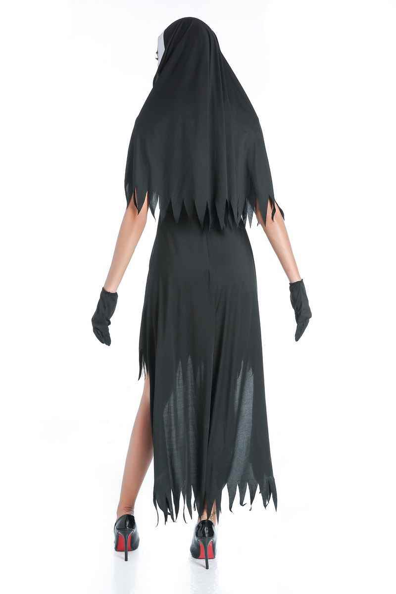 ฮาโลวีนแม่ชีคอสเพลย์เครื่องแต่งกายผู้หญิงสีดำแฟนตาซีแวมไพร์ชุด Terror Sister Party ปลอมตัวหญิงแฟนซีสำหรับผู้ใหญ่