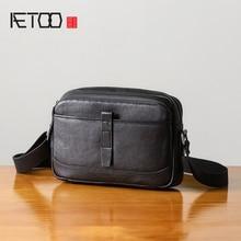AETOO Handmade single shoulder bag male leather soft leather fashion casual oblique cross bag men's head layer Cow handbag