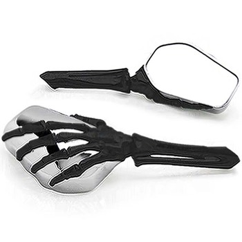 Free Shipping Black/Chrome Skeleton Hand Motorcycle Mirrors For honda Shadow Aero Phantom VLX 750 1100