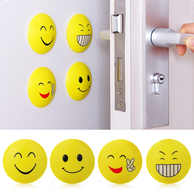 4pcs Rubber Door Handle Knob Smile Face Emoji Sticker Crash Pad Wall Protector Bumper Guard Anti Collision Stopper HG99 creative 100 euro note style door stopper guard green white
