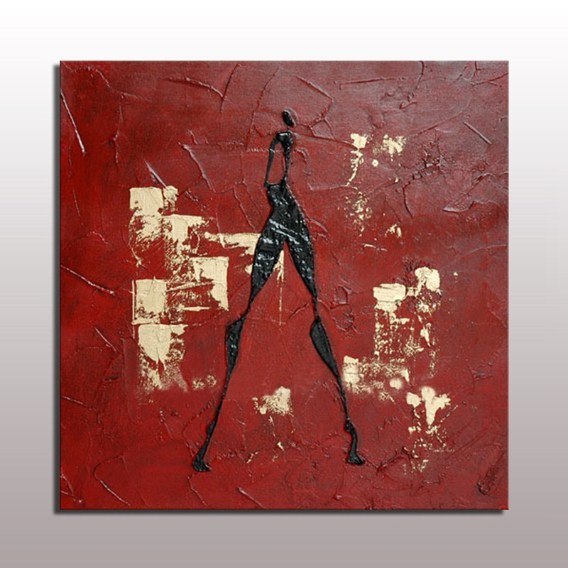 Hand Painted Acrylic Abstract Painting Wall Art Red ...