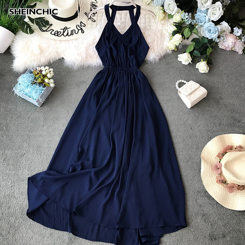 Vintage Vacation Beach Women Long Dress Sexy V Neck Spaghetti Strap Red Blue Dress 2019 High Waist Backless Verano Vestidos