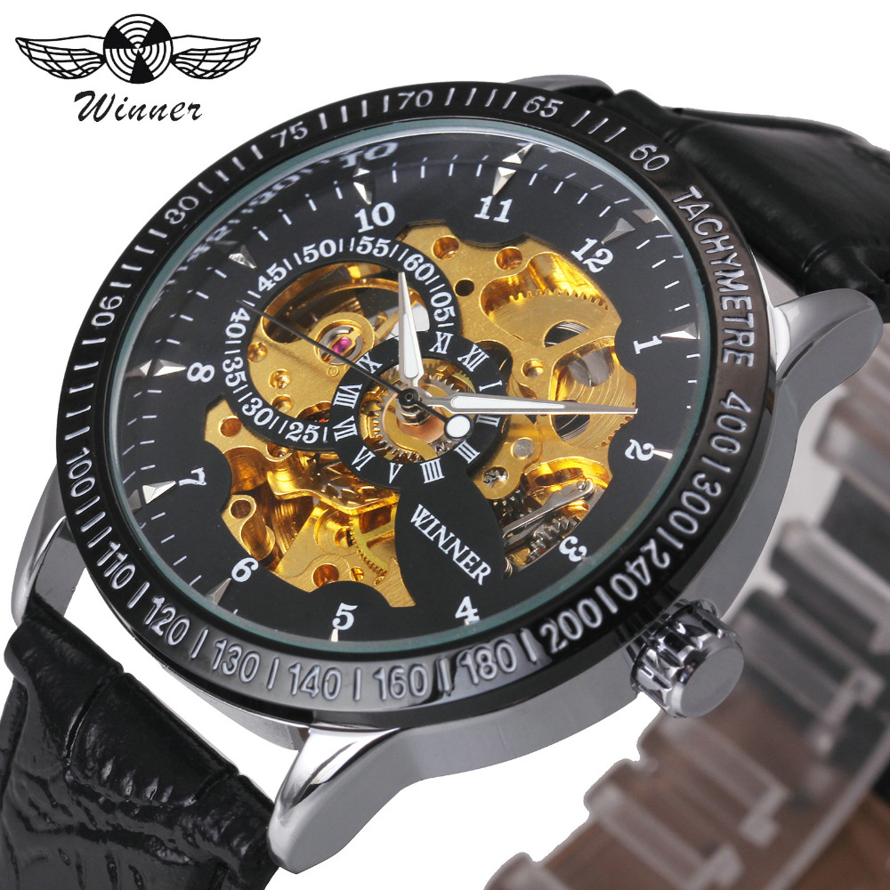 2018 FORSINING Casual Men Automatic Mechanical Watch Soft Leather Band Golden Skeleton Dial Luminous Hands Male Wristwatch +BOX forsining men s watch automatic dress watches plastic band alloy case mechanical wristwatch color deep blue gift box