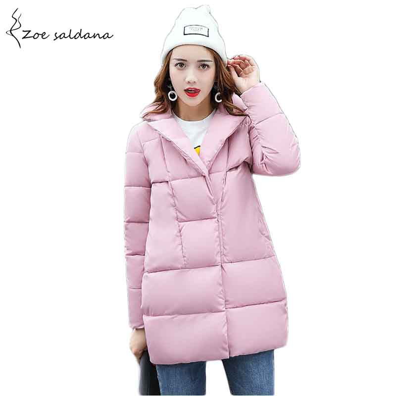 Zoe Saldana 2018 Women Winter Jacket Down Cotton Padded Coats Casual Warm Winter Coat Turn Down Collar Long Loose Parkas