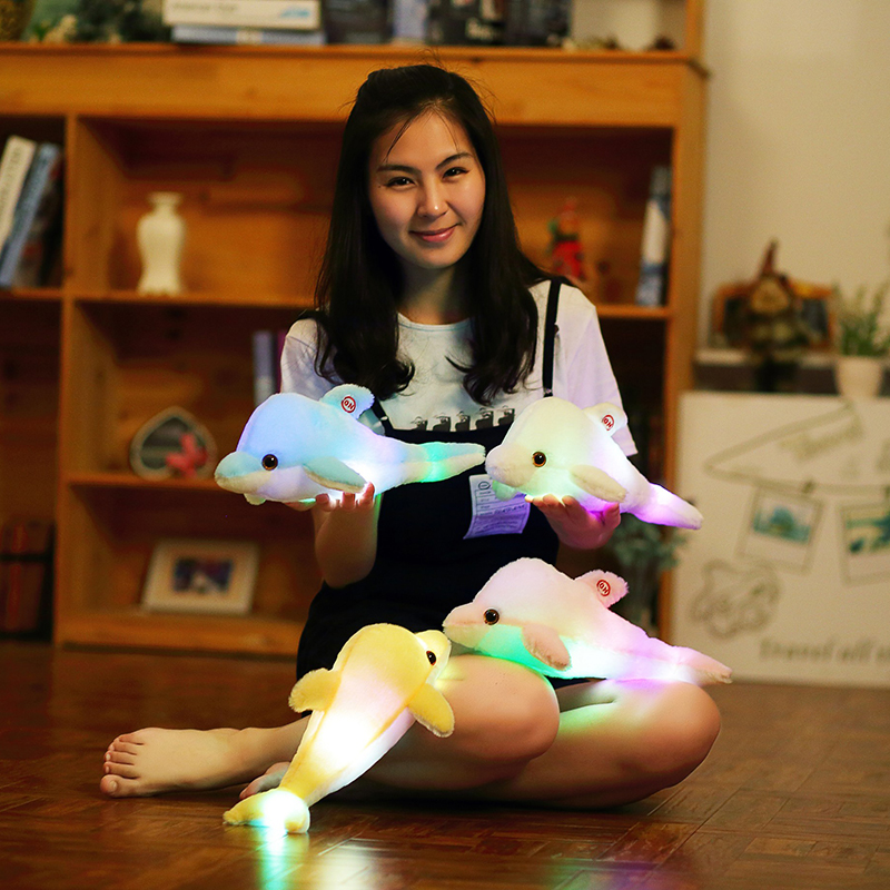 32cm Creative Luminous Plush Dolphin Doll Glowing Pillow, Colorful LED Light Plush Animal Toys Kids Children's Gift YYT220 retail gudetama lazy egg eggs jun egg lazy balls creative nap u pillow neck pillow cartoon hat plush doll wj01