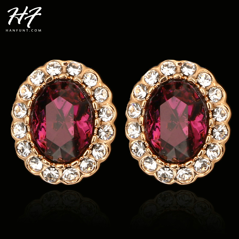 E106 Purple Crystal Earrings Rose Gold Color Fashion Jewelry Made