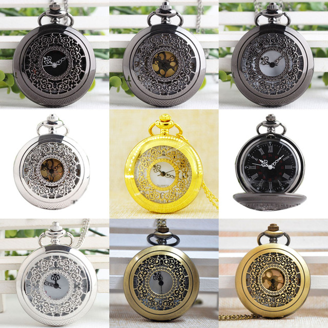 P233B Black Flowers Round Dial Pendant Large Hollow Quartz Pocket Watch Men Wome