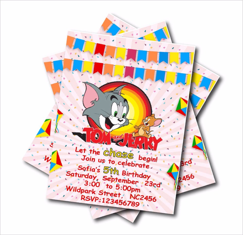 20pcs Customized Tom Jerry Birthday party invitation for kids Baby