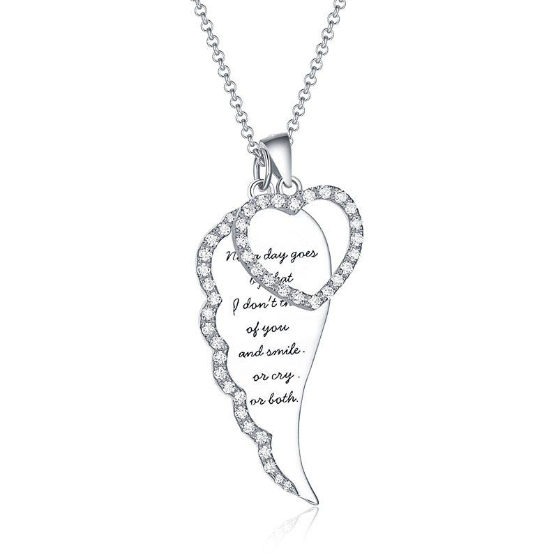 AILIN Personalized Women Angel Wing Heart Necklace With Birthstone Silver For Girlfriend Angel Wing Jewelry For Christmas цена и фото