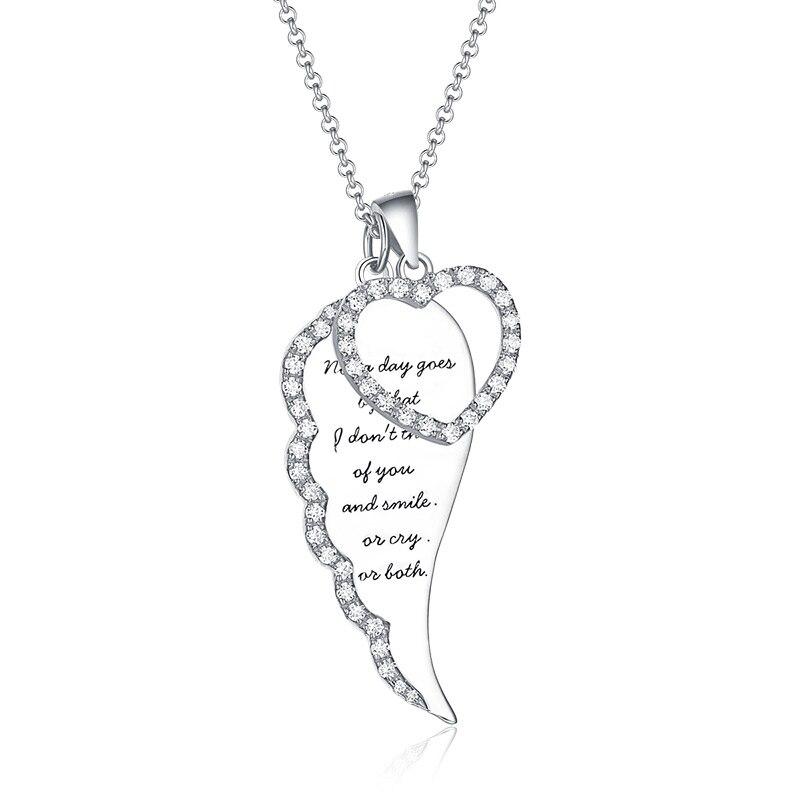 AILIN personnalisé femmes ange aile coeur collier avec pierre de naissance argent pour petite amie ange aile bijoux pour noël