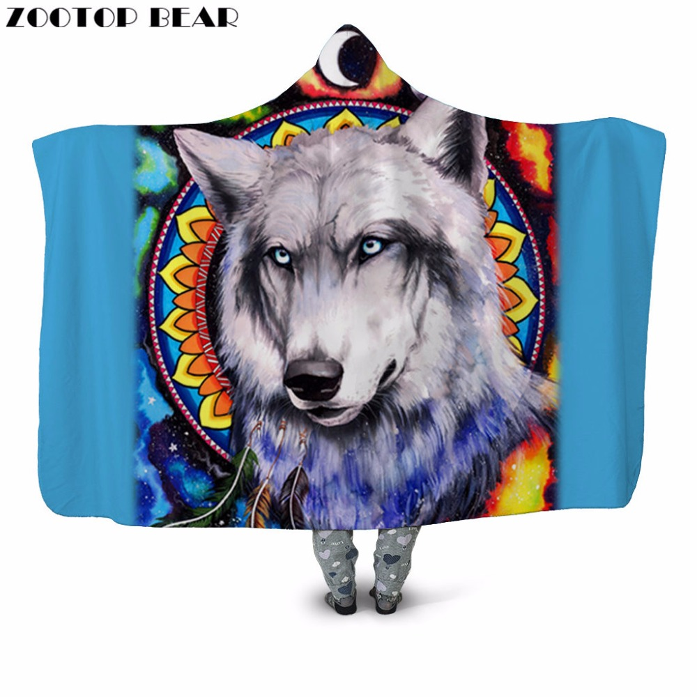 Calm Wolf 3D Printed Plush Hooded Blanket For Adult Child Couch Warm Wearable Fleece Throw Sofa Blanket Home Office Washable New